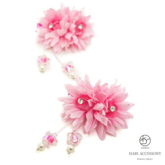 Small ornament 2 sets yukata flowers flower pink bijoux cleaves bra belt ornament summer yukata kids kids Barrettes hair flower hair accessories