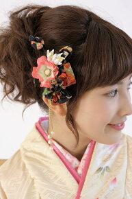 縮緬地を使用した,和柄デザイン,髪飾りセット