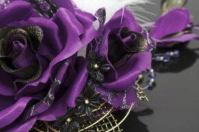 髪飾り成人式振袖卒業式袴はかま大きなバラパープルブラックファー髪かざり結婚式着物ドレス和服和装婚礼ふりそで髪留めヘアアクセサリー