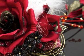 髪飾り成人式振袖卒業式袴はかま大きなバラレッドブラック結婚式着物ドレス和服和装婚礼ふりそで髪留めヘアアクセサリー髪かざり