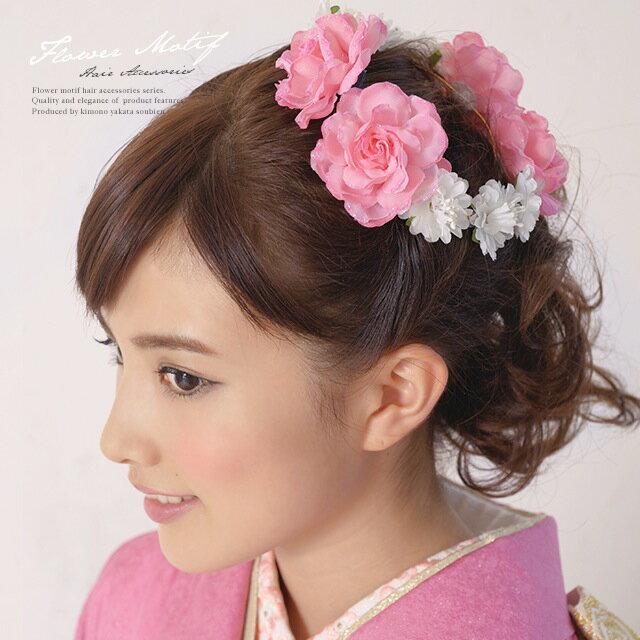 髪飾り 成人式 振袖向け 浴衣向け 七五三 結婚式 コーラルピンク 花冠 花かんむり 薔薇…...:so-bien:10049617