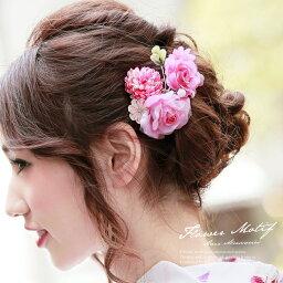 つまみ細工 髪飾り 成人式 七五三 振袖 ピンク 薔薇 コーム 和洋兼用 ヘアアクセサリー【あす楽対応】