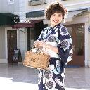 浴衣 3点セット(浴衣/半幅帯/下駄) bonheur saisons 紺青 ネイビー 薄紫 向日葵