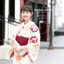 浴衣 3点セット(浴衣/兵児帯/下駄) bonheur saisons 白系 クリームホワイト 橙色
