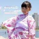 子供浴衣4点セット(浴衣+兵児帯2本+下駄)ピンク 薔薇 マーガレット 綿 女児 女の子 キッズ浴衣