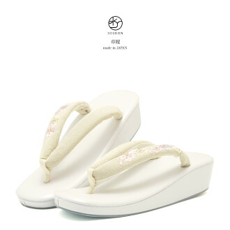 Pearl White Sandals * creams made in Japan cherry blossoms embroidered M size L size formal casual