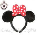 ミニーマウスもこもこカチューシャ 赤 リボン 水玉 ドット ヘアアクセサリー【ディズニーリゾート限定】ミッキー Disney