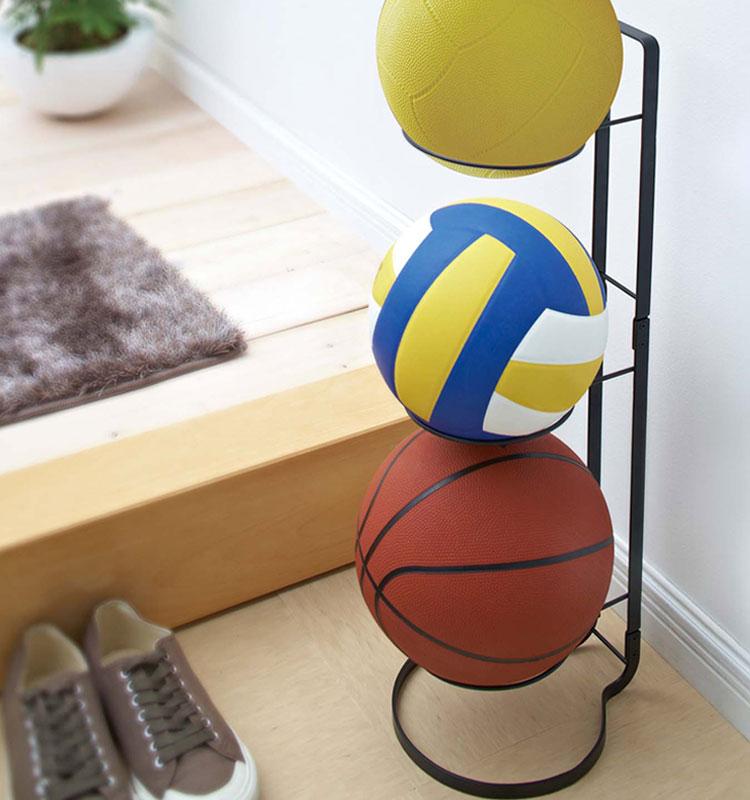 【山崎実業】 ボールスタンド フレーム ブラック 7290【玄関 エントランス 収納 バスケットボール サッカーボール】