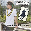 【SALE】67%OFF!!!!!【POLO Ralph Lauren BOYS】ポロラルフローレン ボーイズライン2010 S/S Model Big Pony V-Line S/S Polo shirtビックポニーVライン切替半袖ポロシャツ(WHITE×YELLOW)【smtb-k】【w4】【YDKG-tk】