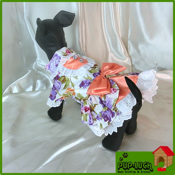 リボン付き花柄ワンピースドッグウェアフリル付きワンピースペットウェア/ドッグウエア/小型犬用品/do