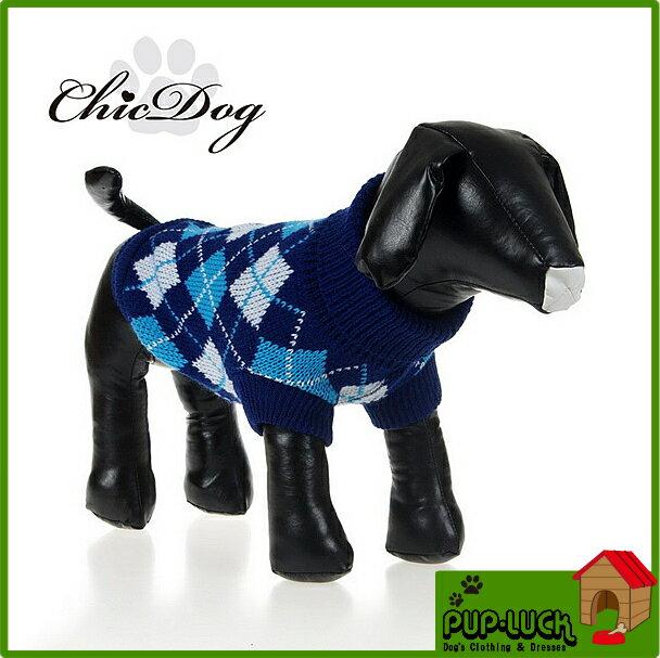 ニットウェア(アーガイル)ネイビー/ブルードッグウェアペットウェア/ドッグウエア/小型犬用品/dog