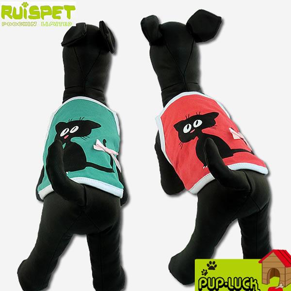 RuisPET猫ちゃんデザインTシャツ/キャミソール黒猫柄リボン付きドッグウェアペットウェア/ドッグ