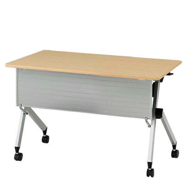 イトーキ折りたたみテーブル HXシリーズ 天板抗菌加工 幕板付タイプ(棚付) 幅120cm 奥行60cm 【自社便 開梱・設置付】 ●イトーキ直営店/キャスターリングを回転させて高さの微調整が可能。