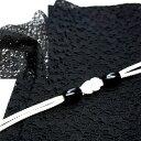 帯揚げセット 洗えるレースの帯揚げ(黒) ウッドビーズの帯締め agset17004