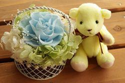 【即納】 プリザーブドフラワー 電報 結婚式 結婚祝い 誕生日プレゼント テディベア レモン と セレナ ライトブルー