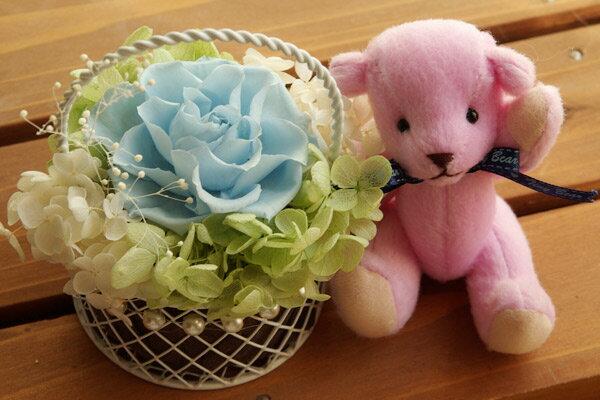 【即納】 プリザーブドフラワー 電報 結婚式 結婚祝い 誕生日プレゼント テディベア パープル と セレナ ライトブルー
