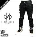 HIGHSTREET NY ハイストリート ニューヨーク MOTO BIKER HYBRID JOGGER PANT BLACK モト バイカーパンツ ハイブリット ジョガーパンツ ブラック 黒 ボトムス メンズ 男性 ストリート カジュアル HIPHOP ヒップホップ