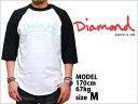 あす楽対応商品 DIAMOND SUPPLY CO WHITESPACE RAGLAN T-SHIRTS BLACK WHITE ダイヤモンド サプライ ラグラン 7分袖 半袖 MEN'S メンズ 男性 ブラック 黒 ホワイト 白トップス Tシャツ スケート スケボー ストリート アパレル ブランド 通販