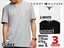あす楽対応商品 TOMMY HILFIGER V NECK T-SHIRTS 3COLOR GRAY WHITE BLACK トミーヒルフィガー Vネック Tシャツ 3色展開 グレー ホワイト ブラック 灰 白 黒 メンズ 男性用 TOPS トップス 半袖 ワンポイント