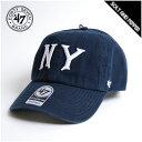 MLB公認ライセンスブランド 47BRAND 47ブランド YANKEES COOPERSTOWN NY CLEAN UP CAP NAVY クーパーズタウン クリーンナップ キャップ MLB ニューヨーク ヤンキース ネイビー 紺 帽子 6パネル ストラップバックキャップ 47 BRAND