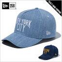 NEWERA ニューエラ 9FORTY D-Frame Trucker DENIM NEW YORK CITY LOGO インディゴデニム×コパー ウォッシュド...