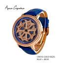 (公式)アンコキーヌ Anne Coquine 腕時計 メンズ 時計 クロスゴールドベゼル ブルー 1201-0303 ジュエルウォッチ 革 ベルト ブランド..