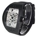 (公式)アンコキーヌ Anne Coquine 腕時計 メンズ 時計 ビッグ レクタングル スケルトン クロス ベゼル ブラック<クロス>クリアー<..