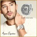 (公式)アンコキーヌ Anne Coquine 腕時計 メンズ 時計 ビッグ レクタングル スケルトン クロス ベゼル シルバー<クロス>クリアー<..