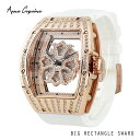 (公式)アンコキーヌ Anne Coquine 腕時計 メンズ 時計 ビッグレクタングルスワロ ゴールド ホワイト 1247-1501 スワロフスキー ユニ..