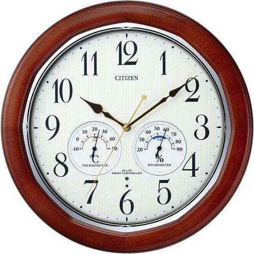 シチズン リズム時計 掛け時計 掛時計 温度・湿度計付電波掛け時計 掛時計 ネムリーナインフォートW 8MY464-006