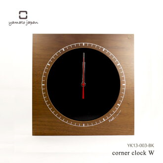 It is good to Yamato industrial arts present! Wood clock corner clock W black clock YK13-003-BK to be able to put at the corner of the room