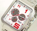 D&amp;amp;G TIME  GERONIMO chronograph SS belt clock silver DW0185 [Luxury Brand Selection] [men gift] 10P24Jan13 [lapping free of charge] 10P4Feb13 [easy  _ packing] 10P11Feb13 [RCP] 10P19Feb13 [fsp2124]
