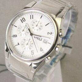 D&GTIMEドルガバSANDPIPERクロノグラフSSベルト時計ホワイト