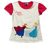 【まとめ割り対象商品】【着後レビュー記入で送料無料】Disney(ディズニー)FROZEN Anna & Elsa Tアナと雪の女王 アナ&エルサ Tシャツ ホワイト/ピンク【子供服 6歳 8歳 10歳 12歳】