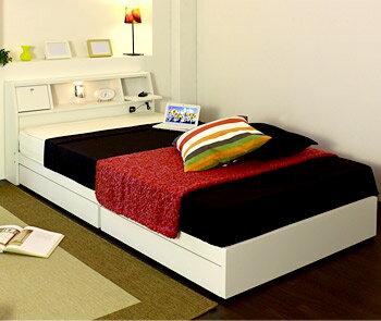 【送料無料】シングルサイズ 木製ベッド 収納棚  マットレス付き ホワイト/ダークブラウン [友澤木工]【smtb-tk】A259-S コンセント、収納棚、ライト、ベッドマット付き/フレームは国内生産