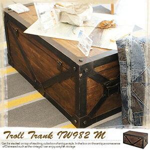 アンティーク トランク トロール テーブル ボックス アンティー