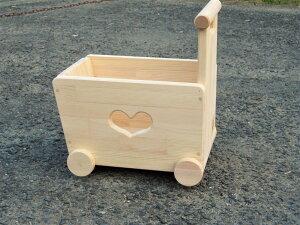 手作り木製 おもちゃも運べる手押し車-3型・片面透かし(透かしの御希…の画像