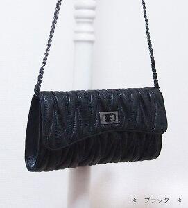 本革キルティングチェーンバックちびバッグ、クラッチ、チェーンバッグ好きにオススメ♪【ミウ2nd】★人気のチェーンバックの「金具がブラックシルバー」登場