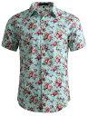 ショッピングアロハシャツ ソウテン 柄シャツ メンズ 半袖 アロハシャツ ワイシャツ 総柄 カラフル ファッション カジュアル ミント 46