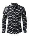 Allegra K メンズ シャツ 長袖 ボタンダウン 水玉プリント ポイントカラー ファッション カジュアル