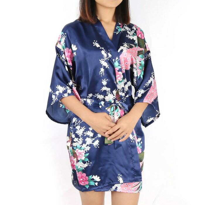uxcell 送料無料 バスローブ レディース 浴衣式 軽量 サテン 着物 ロブ ショートローブ ウェディングパーティー用 女性用 春 夏 花柄