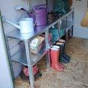 【屋外 物置】屋外物置・収納庫・バイクガレージ メタルシェッドオプション棚 2段ワークベンチ