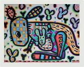 """【送料無料】 新作絵画 :小西慎一郎 """"パッチワークカンガルー""""/ アート  半切(545mm×424mm)"""
