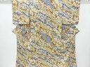 のり散らしに草花・荒波模様小紋着物【リサイクル】【中古】【着】 宗sou