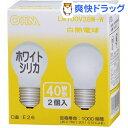 OHM 白熱電球 40W形 ホワイトシリカ LB-PS5638W-2P(2コ入)