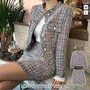 【送料無料】セットアップ レディース スカートスーツ 結婚式 パーティードレス スーツ ドレス ジャケット セット 結婚式スーツ 結婚式ドレス ツイード 大人 ショート スーツ 大きいサイズ ツイードジャケット ミニ M L お呼ばれ 20代 30代 40代 ママ 母 OL あす楽