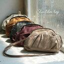 【送料無料】バッグ ころんと丸くレトロなフォルムに、思わずひと目惚れ。がま口ポケットショルダーバッグレディース/鞄/斜め掛け/合皮/フェイクレザー/ミニショルダ...