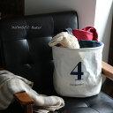 バスケット 洗濯かごや収納BOXとして、色んなシーンで活躍。ナンバー4ミディアムバスケット日用雑貨/インテリア/ランドリー/バス用品/ロゴプリント/ゴミ箱/ごみ...