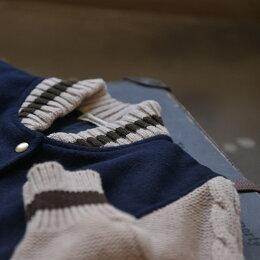ブルゾンM/L/LLサイズしっかり暖かく、ひと味違うカジュアルに。ニット袖ブルゾンレディース/長袖/アウター/スタジャンケーブル編みsoulberryオリジナル