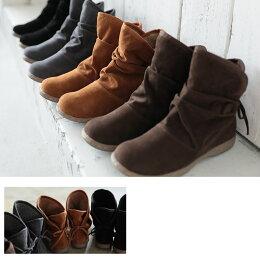 ブーツS/M/L/LLサイズボア&後ろリボンでさりげなく甘い足もとに。はきぐちボアスウェード調ショートブーツレディース/シューズ/靴/ローヒール/フラット/2WAY/フェイクスエードsoulberryオリジナル